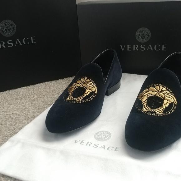Versace Medusa Head Velvet Loafers